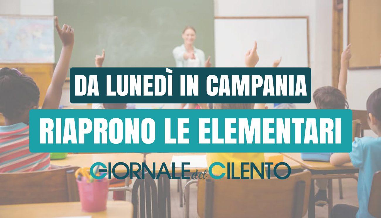 Campania, da lunedì riaprono le scuole elementari