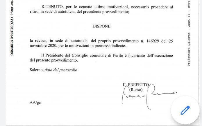 Prefetto ritira sospensione al sindaco di Perito, Cirillo resta in carica