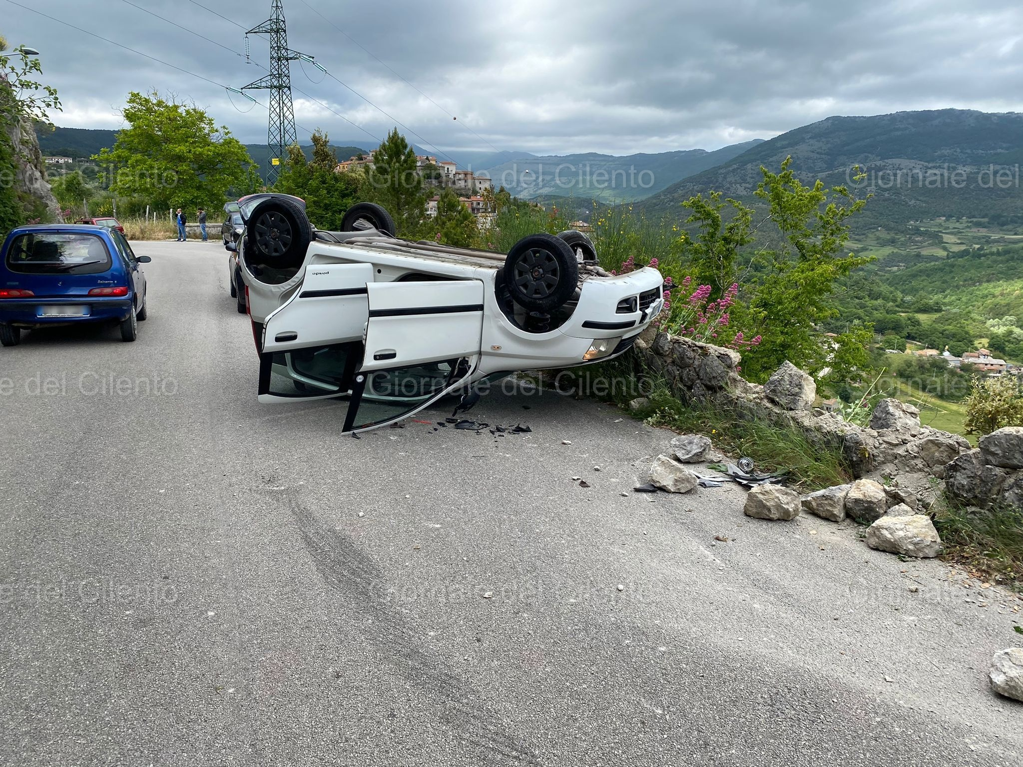 Caselle in Pittari, auto si ribalta per evitare una capra in strada