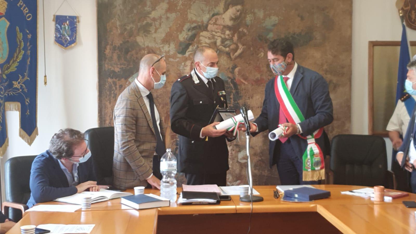 San Giovanni a Piro: encomio solenne per il tenente Ricotta e cittadinanza onoraria a Marotta